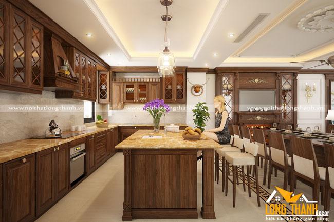 Phòng bếp tân cổ điển với gỗ tự nhiên Óc chó cho nhà biệt thự
