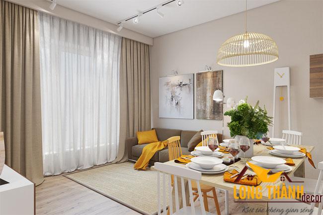 Mẫu phòng khách hiện đại mang lại cảm giác ấm áp với gam màu vàng nhẹ nhàng
