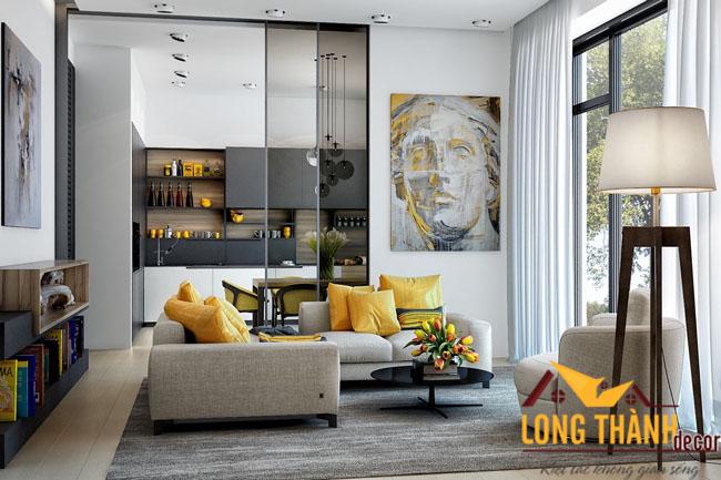 Phòng khách ấm áp với gam màu vàng nhẹ nhàng