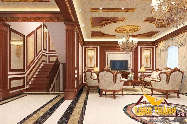 Thiêt kế nội thất phòng khách biệt thự đẹp LT05