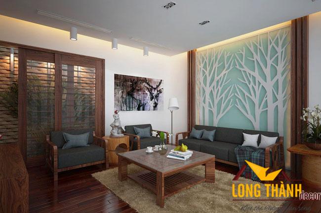 Phòng khách căn hộ chung cư bằng gỗ óc chó tự nhiên