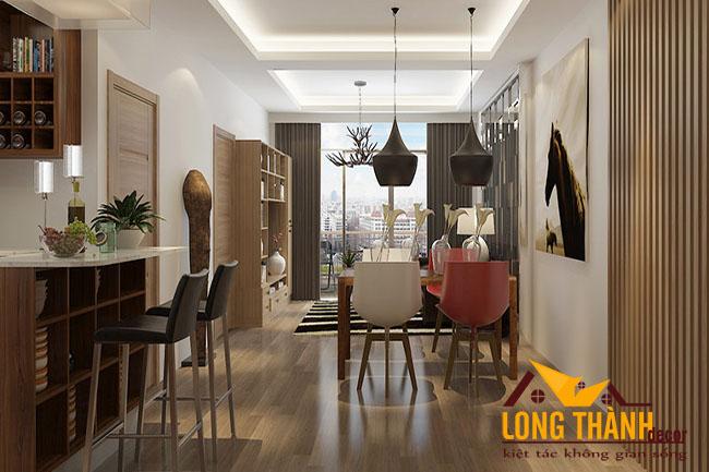 Phòng khách chung cư hiện đại đơn giản với gỗ Veneer Sồi