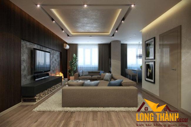 Thiết kế phòng khách hiện đại bằng gỗ Laminate