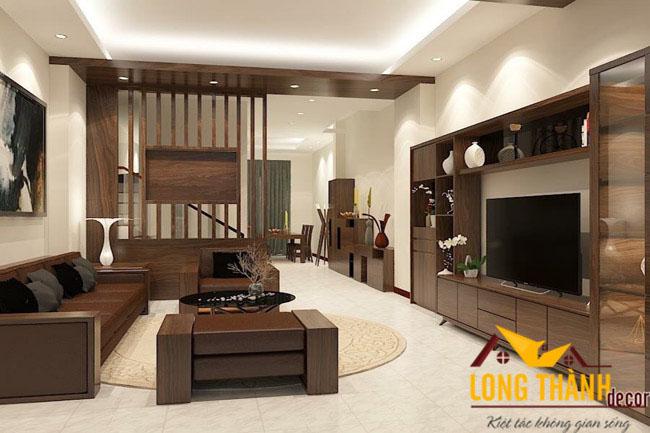 Phòng khách hiện đại bằng gỗ tự nhiên óc chó