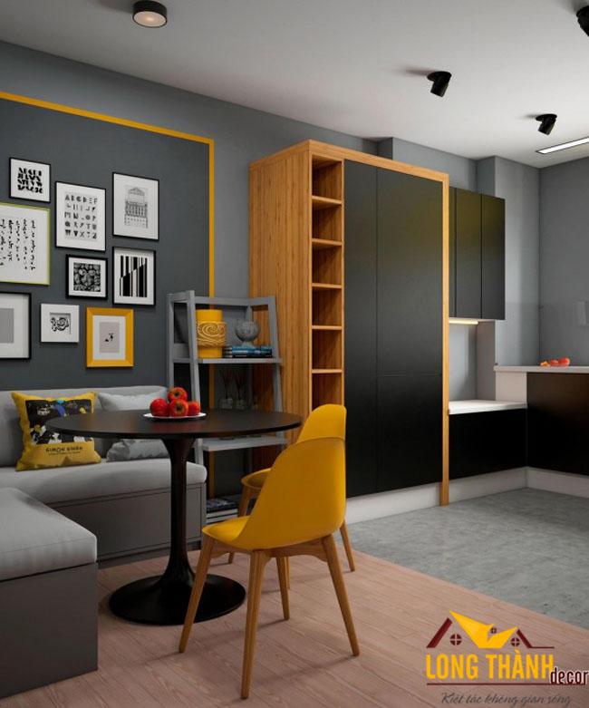 Phòng khách hiện đại cho căn hộ chung cư có diện tích nhỏ