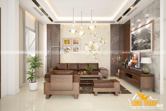 Phòng khách hiện đại, đẳng cấp với gỗ Óc chó tự nhiên