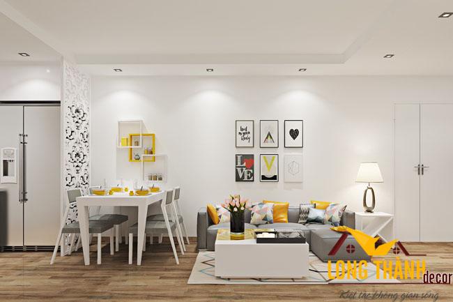 Phòng khách hiện đại với gam màu trắng sáng