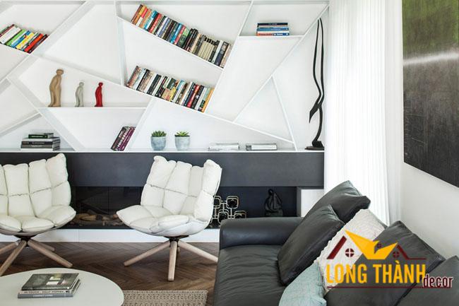Thiết kế phòng khách hiện đại năm 2017 lạ mắt với giá sách độc đáo