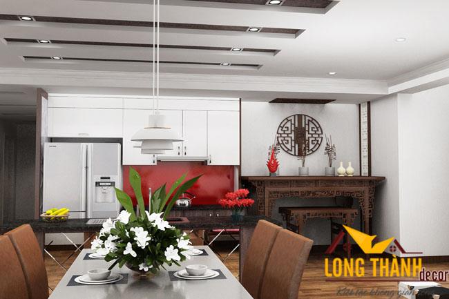 Phòng khách hiện đại liên hoàn bếp và ăn