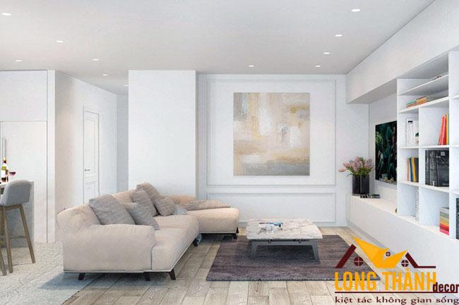 Phòng khách màu trắng – Sự lựa chọn cho những căn hộ chung cư diện tích nhỏ