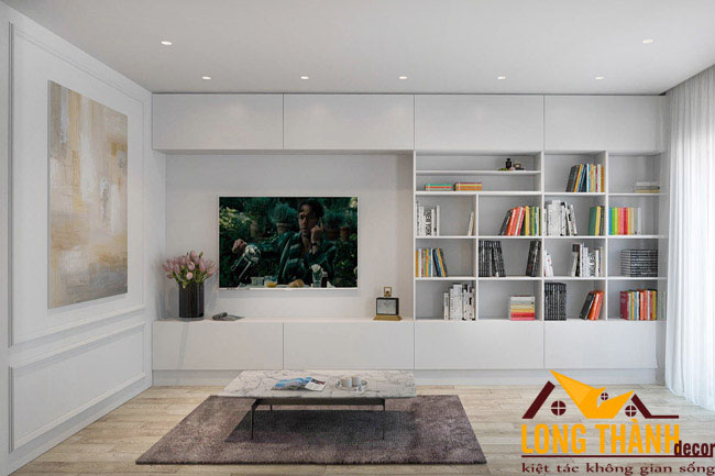 Phòng khách hiện đại màu trắng – Sự lựa chọn cho những căn hộ chung cư diện tích nhỏ