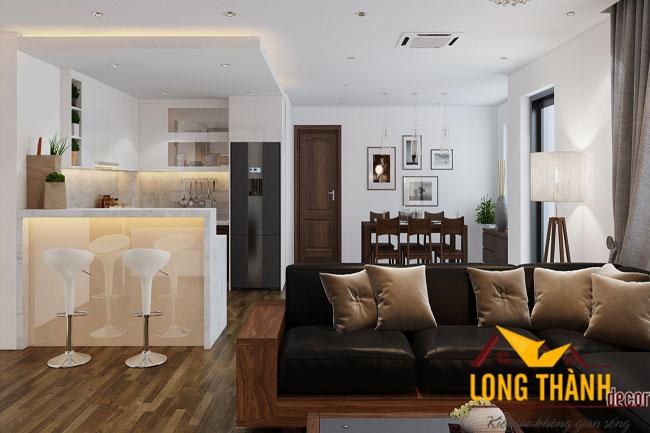 Phòng khách hiện đại sang trọng với sản phẩm từ gỗ Óc chó