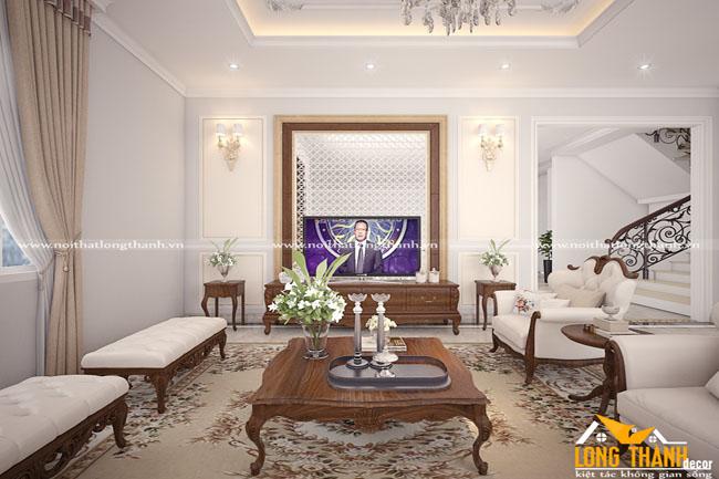 Phòng khách tân cổ điển cho nhà biệt thự