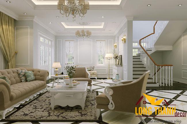 Thiết kế nội thât phòng khách tân cổ điển LT04
