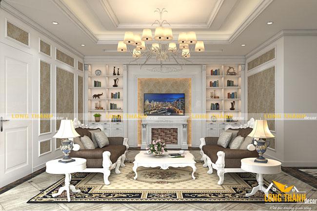 Thiết kế nội thất phòng khách tân cổ điển LT09 năm 2017