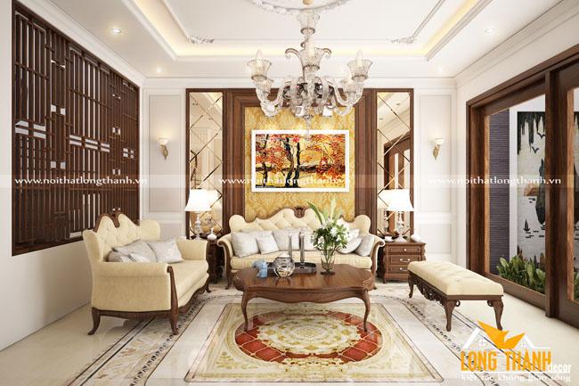 Mẫu nội thất phòng khách tân cổ điển LT15
