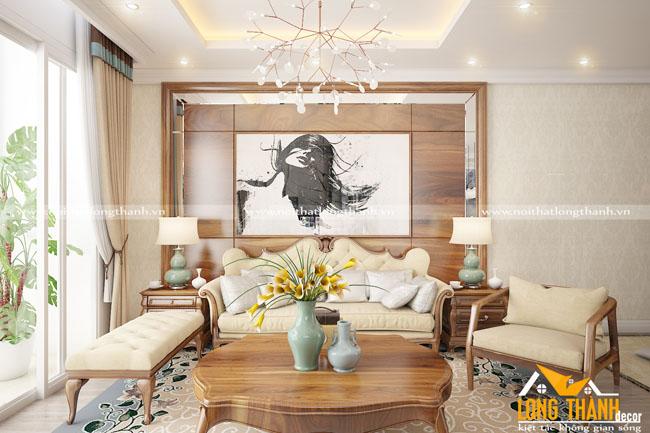 Mẫu nội thất phòng khách tân cổ điển LT16