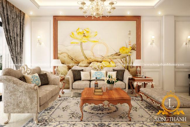 Căn phòng khách tân cổ điển nổi bật và sang trọng