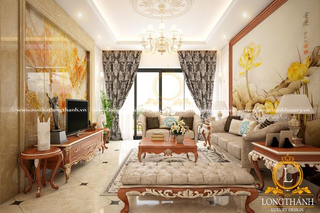 Căn phòng khách lộng lẫy với sự kết hợp màu sắc độc đáo