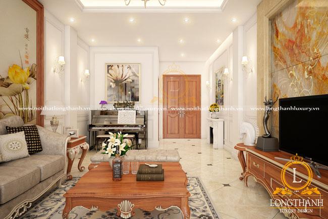 Không gian phòng khách đẹp độc đáo với chiếc đàn piano được bố trí tại góc phòng