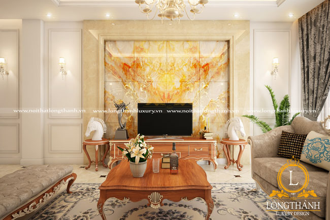 Không gian phòng khách tân cổ điển đẹp không thể thiếu chiếc kệ tivi