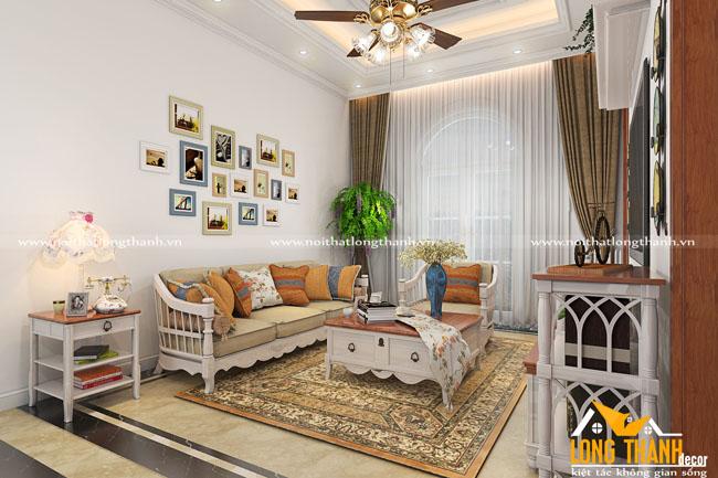 Phòng khách tân cổ điển với gỗ tự nhiên sơn trắng kết hợp màu gỗ