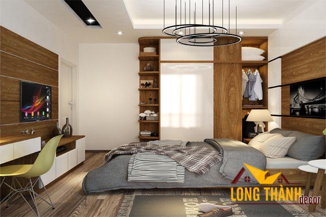 Thiết kế phòng ngủ hiện đại 2017 ấm cúng với vật liệu gỗ Veneer