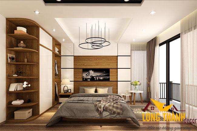 Phòng ngủ ấm cúng với vật liệu gỗ Veneer