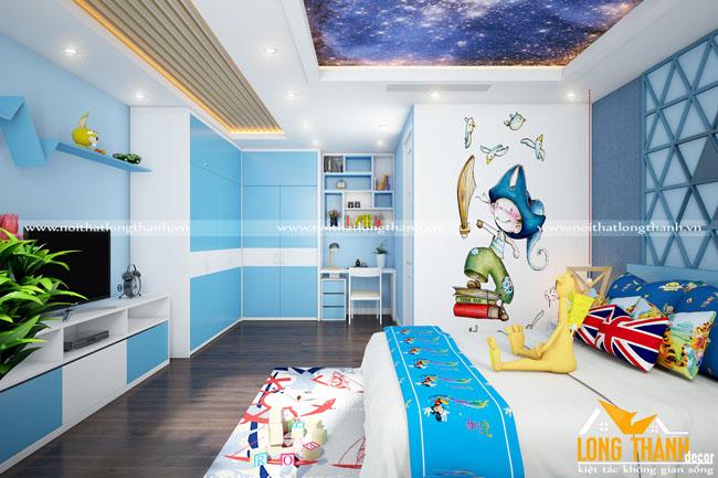 Mẫu phòng ngủ hiện đại cho con trai cá tính mạnh mẽ
