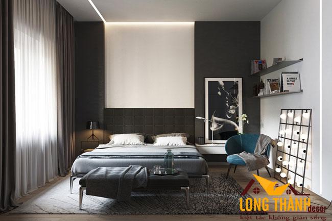 Thiêt kế nội thất phòng ngủ cao cấp với tông mầu đen trắng