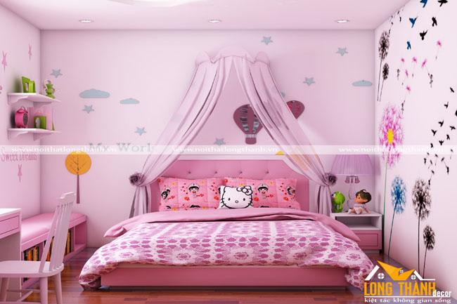 Phòng ngủ đẹp, hiện đại dành cho bé gái