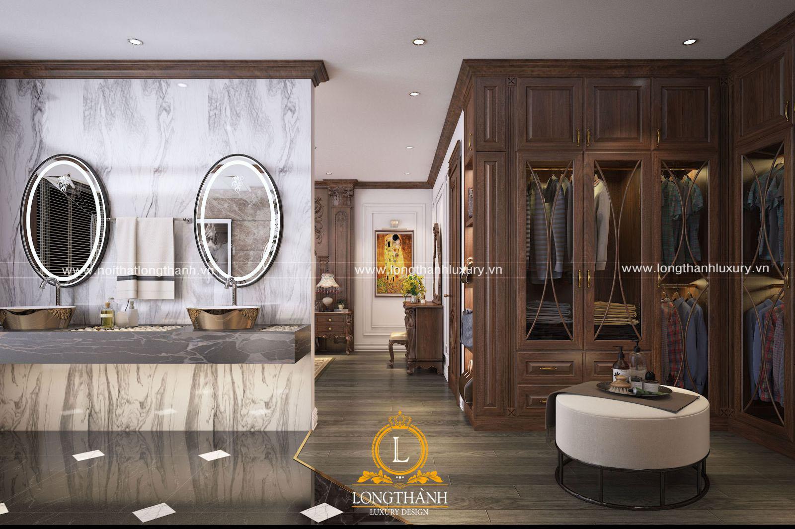 Phòng ngủ tân cổ điển đẹp - góc nhìn từ phòng thay đồ
