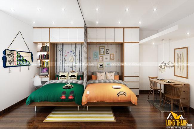 Phòng ngủ đôi thông minh cho những phòng ngủ hẹp