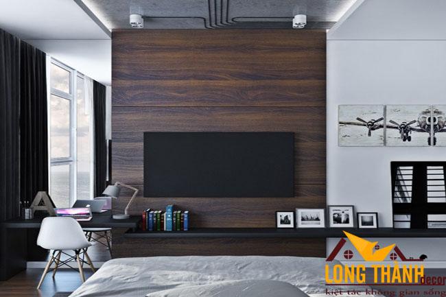 Thiết kế nội thất phòng ngủ hiện đại bằng gỗ Veneer Óc chó dành cho nhà biệt thự