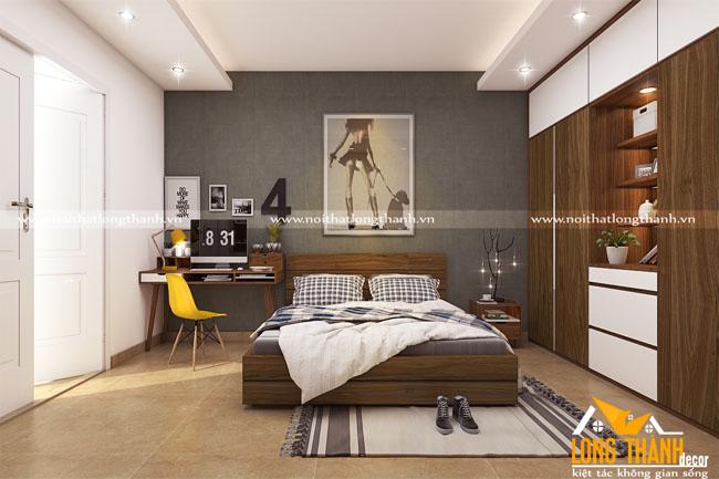 Phòng ngủ gỗ Veneer Óc chó hiện đại, sang trọng