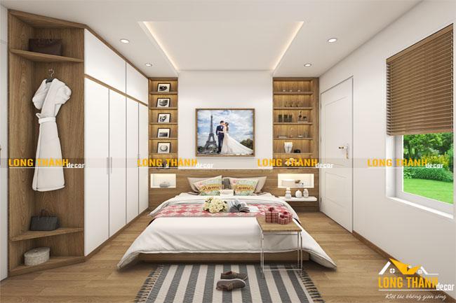 Phòng ngủ hiện đại bằng gỗ Veneer Sồi kết hợp sơn trắng