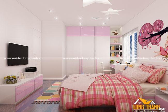 Mẫu phòng ngủ hiện đại dành cho bé gái