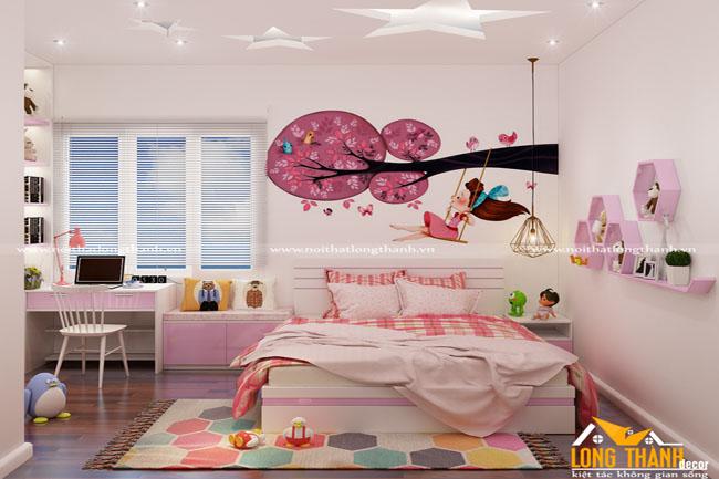 Phòng ngủ hiện đại dành cho bé gái
