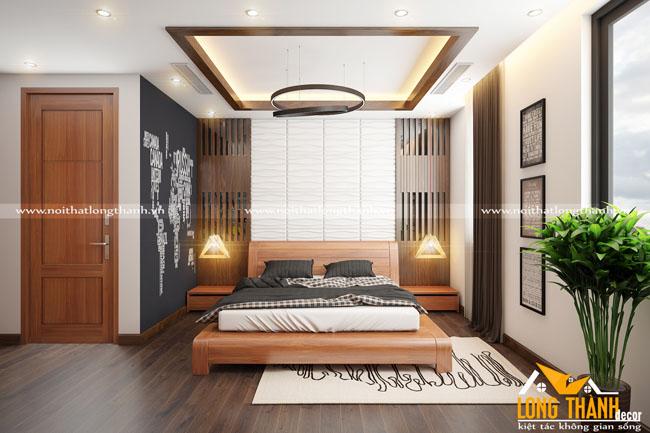 Phòng ngủ hiện đại đẹp, sang trọng bằng gỗ Gõ tự nhiên