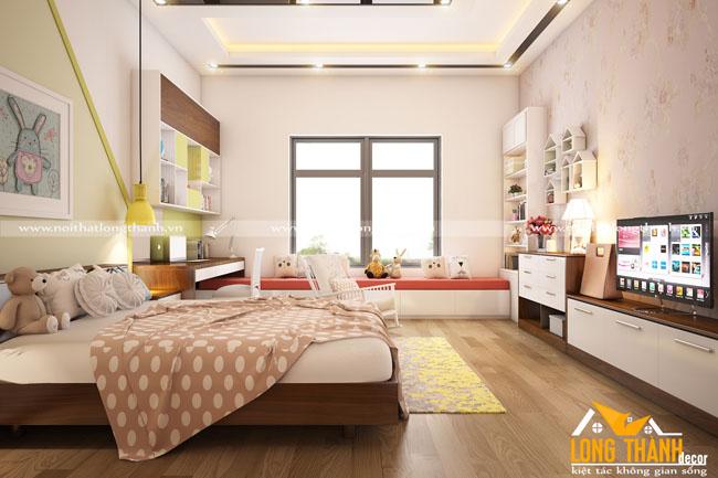 Phòng ngủ hiện đại đẹp với gỗ Veneer Óc chó kết hợp sơn trắng