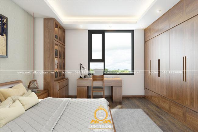 Mẫu phòng ngủ hiện đại gỗ tự nhiên cho nhà chung cư hẹp
