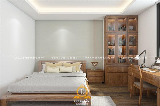 Phòng ngủ hiện đại gỗ tự nhiên cho nhà chung cư hẹp