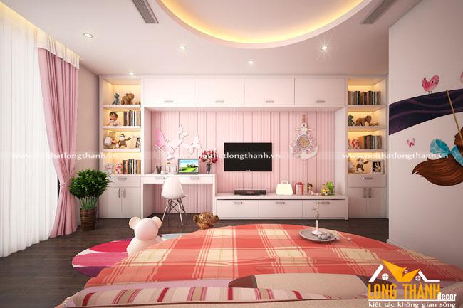 Phòng ngủ hiện đại gỗ tự nhiên dành cho bé gái