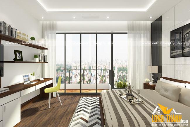 Phòng ngủ hiện đại với chất liệu gỗ công nghiệp cốt MDF lõi xanh chống ẩm