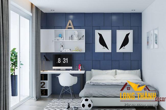 Phòng ngủ hiện đại với chất liệu gỗ công nghiệp sơn