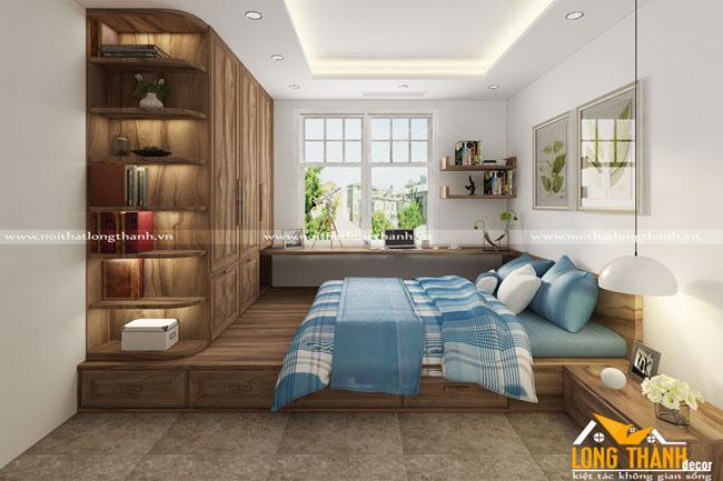 Phòng ngủ hiện đại với gỗ Cẩm tự nhiên