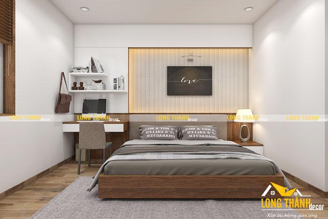 Phòng ngủ hiện đại với hai gam màu chủ đạo: trắng, nâu socola
