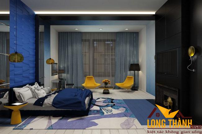 Thiết kế phòng ngủ cao cấp màu xanh dương dành cho những tín đồ màu xanh
