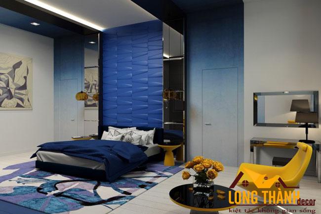 Phòng ngủ màu xanh dương dành cho những tín đồ màu xanh