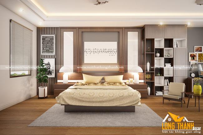Phòng ngủ sang trọng, hiện đại với gỗ tự nhiên Óc chó